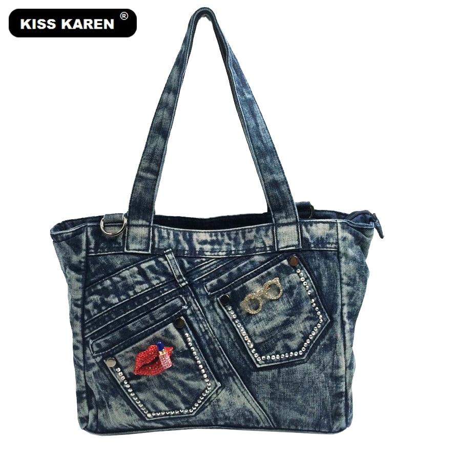 KISS KAREN Designer Denim Bag Fashion Casual Tote Jeans Bags Women Handbags Female Tote Bag Stylish Women's Shoulder Bags stylish mid waist cuffed denim ripped shorts for women