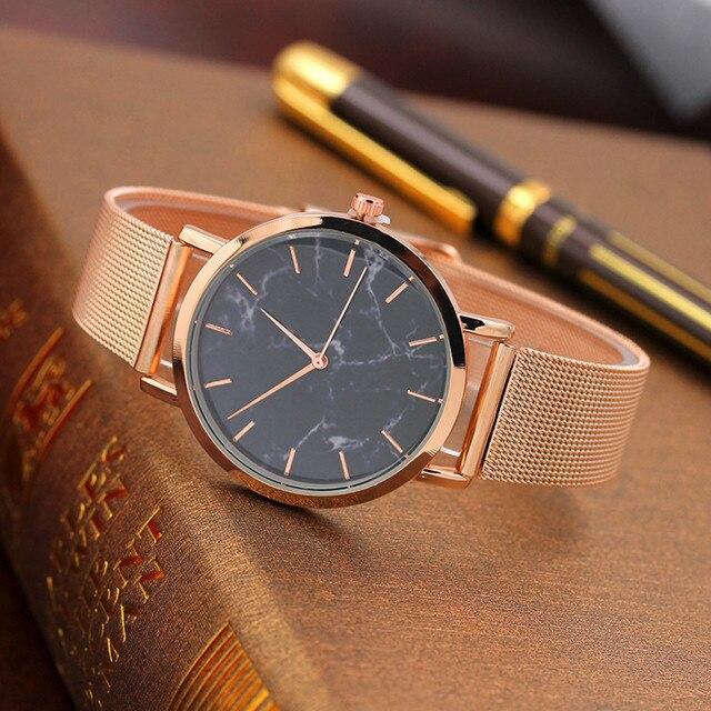 Fashion 2019 Women Marble Surface Stainless Steel Band Quartz Movement Wrist Watch Casual Bracelet Watch women watches steel #15