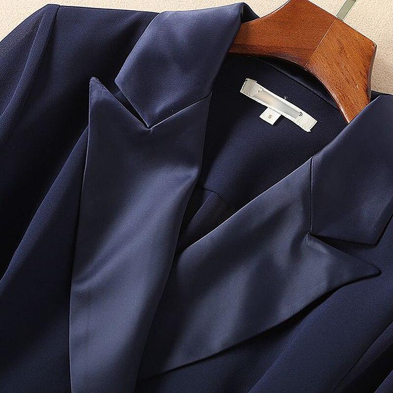Fashion Marine Costumes Manches Haute Printemps Xf Col À Femmes Mince Qualité Designer 2019 10 Robe De 1106 Foncé Piste Neuf Longues Bleu Ceinture BwrBZ8q7