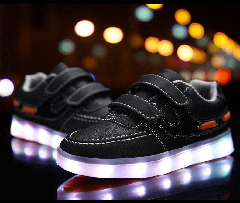 Children shoes with light 17 baby boys girls LED light shoes kids breathable fashion sneakers glowing USB charging shoes 9