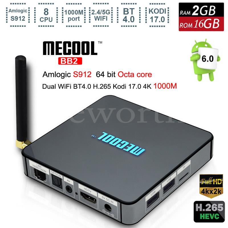 Android 6.0 4K Smart TV Box 2GB 16GB Amlogic S912 Octa Core H.265 Media Player 2.4G&5G Wifi BT4.0 BB2 Mini PC for PS4 Game TVbox