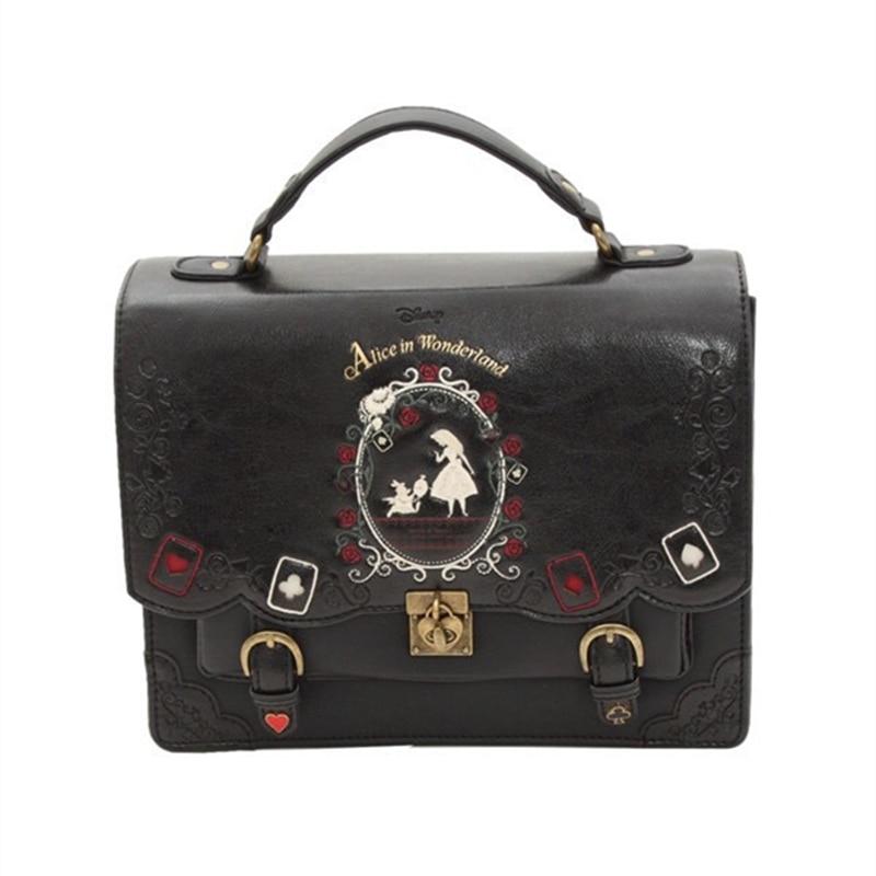 Alice Wonderland Designer Tote Bag Women Pu Leather Handbag Retro Printing Back Pack School Bag For Girls Bagpack Bolsa Mochila