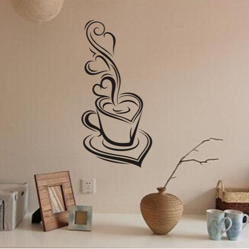 New Coffee Wall Stickers Removable Kitchen Living Room Vinyl Mural Home Decal