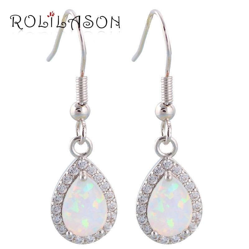 Zirconia Water Drop design Super supplier White fire opal Silver Stamped Fashion Jewelry Dangle Earrings Fine jewelry OE299