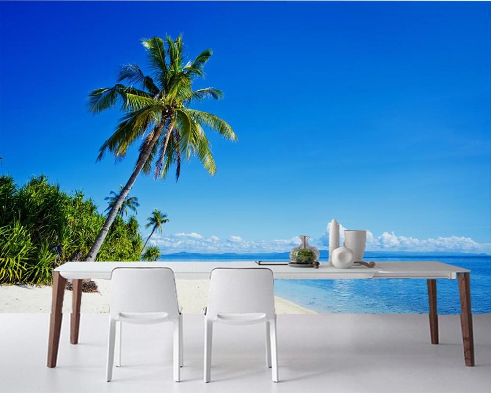 Tropiques côte mer palmiers nuages nature photo 3d papier peint papel de parede, salon canapé TV mur chambre papiers muraux décor à la maison