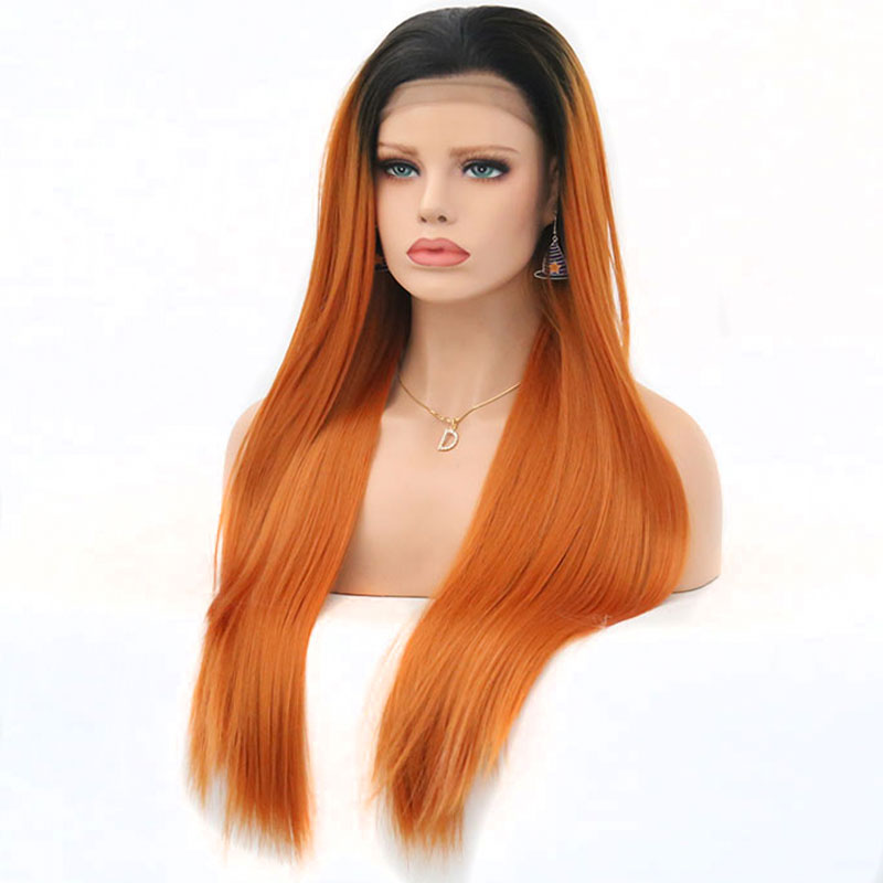 Bombshell Straight Synthetic Lace Front Wigs Dark Roots Ombre Orange Red Color Heat Resistant Fiber for