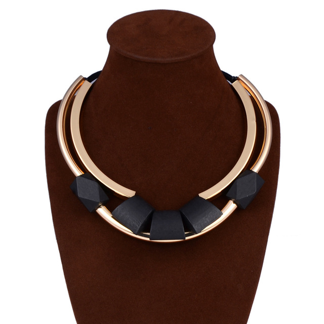 2017 New Unique Fashion wood Choker Necklace Copper Metal Bib Collier Femme Vintage Collares Statement Necklace women Jewelry