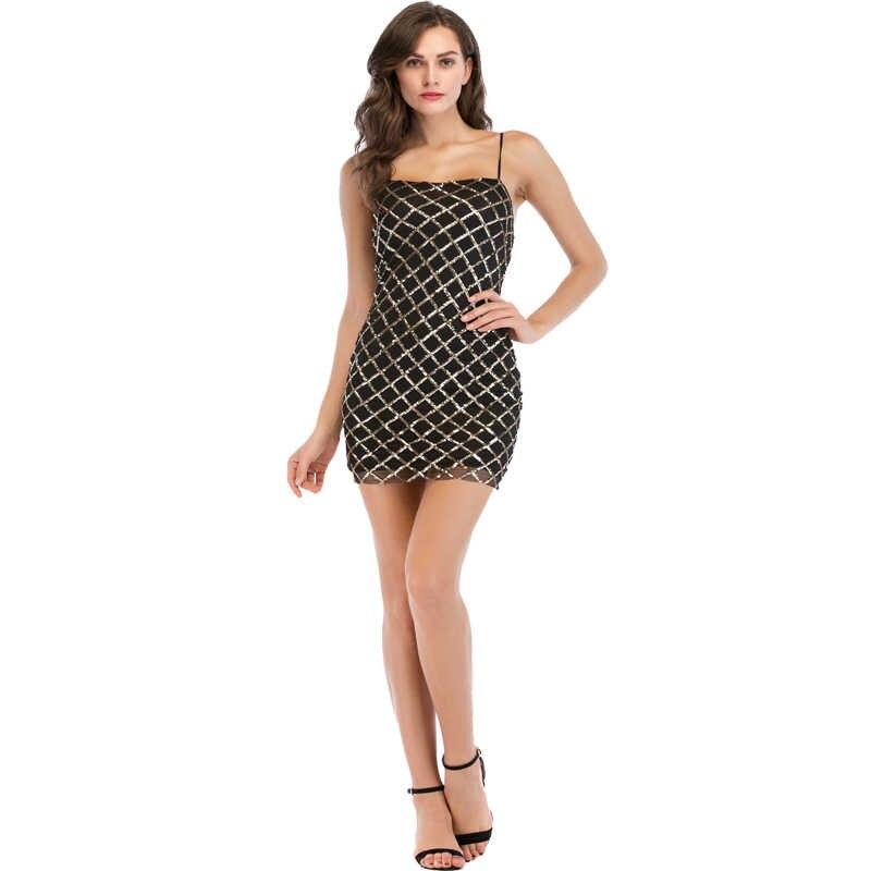 2020 mode dames robe une pièce sangle Patch Sexy licou Mini robe sangle Sequin robe lourde broderie robe femmes Vestidos