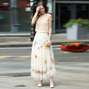 Image 5 - luxury skirt high quaity women embroidery mesh skirt