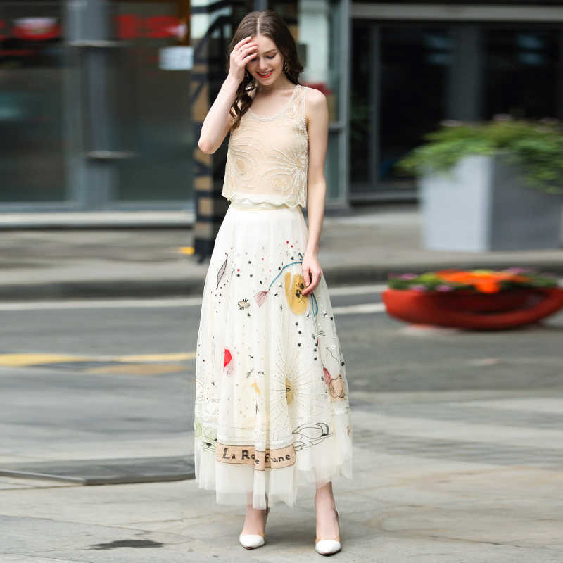 高級スカート高 quaity 女性刺繍メッシュスカート
