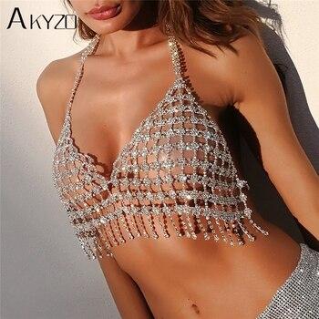 AKYZO High Quality Rhinestone Camis Crop Tops Fashion Shining Metal Diamond Tassel Chains Silver Backless Halter Beach Tank Tops