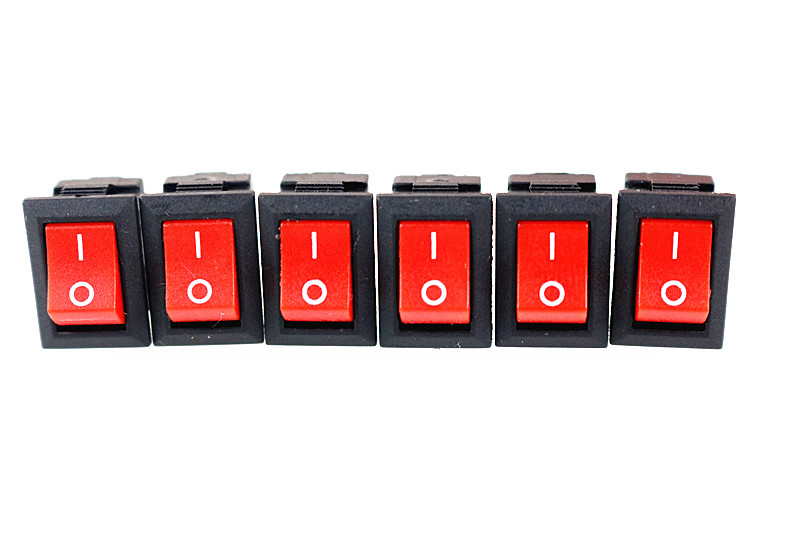 5Pcs Red Push Button Switch 3A 250V KCD11 2Pin Snap-in On/Off Rocker Switch 10*15MM Red