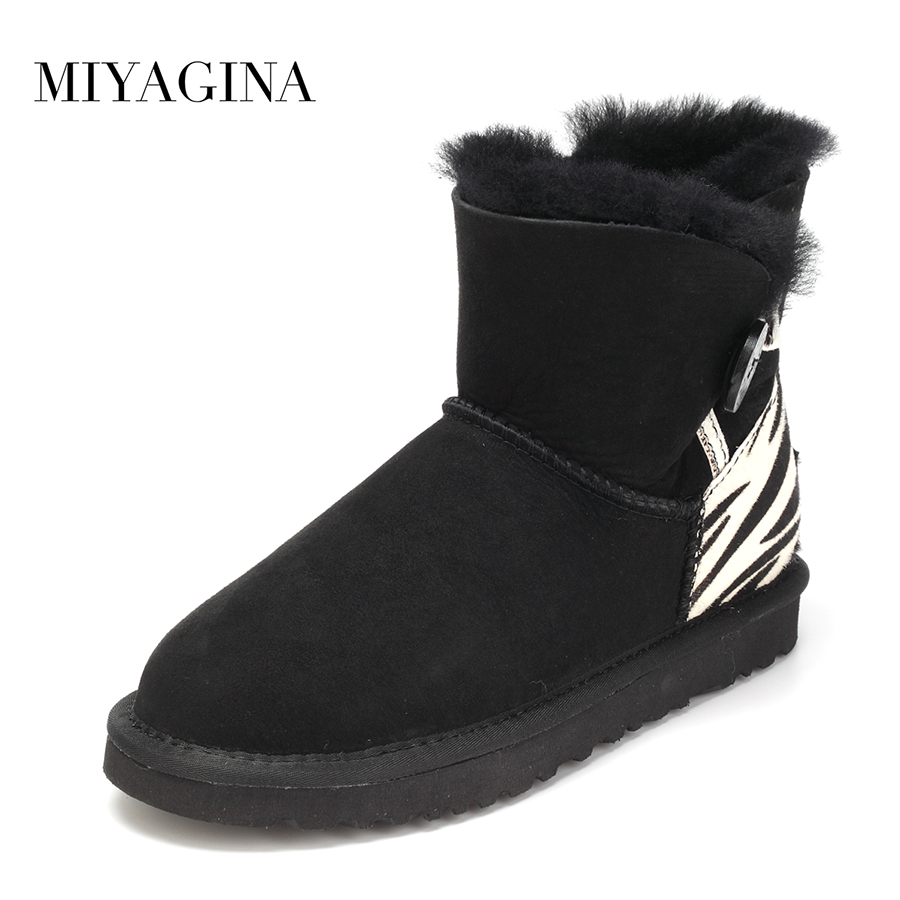 Top Quality New Genuine Sheepskin Leather Snow Boots Fashion Natural Fur Botas Mujer Real Wool Warm Winter Ankle Shoes For Women