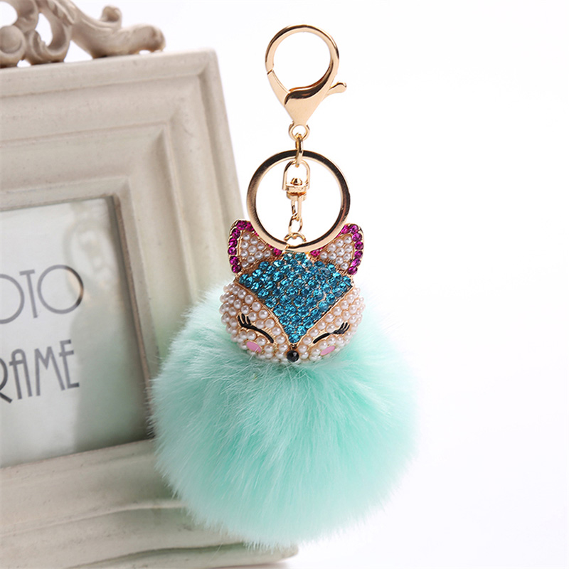 2017 New Artificial Rabbit Fur Ball Keychain Rhinestone Crystal Fox Head Pompon Trinket Key Chain Handbag Fluffy Key Ring Holder 6