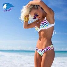 2016 Summer Dress Brazilian Swim Suit String Stripe Color Block Patchwork Two Piece Women Bra Set Halter Split Fashion Beach