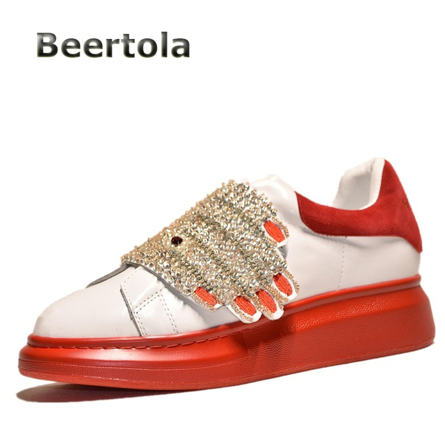 88a2b3306c18 Spring Shoes-Woman 2018 Womens Sneakers Casual Shoes Thick Soled Rhinestone  Slip On Designer Sneakers for Women White Sneakers