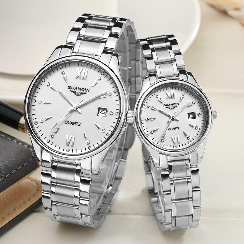 GUANQIN カップルの腕時計セット男性女性のファッション愛好家日付腕時計高級ゴールドクォーツ時計女性時計レディース腕時計  グループ上の 腕時計 からの クォーツ時計 の中 3