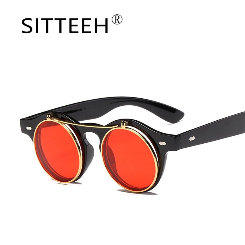 bdd376a12c 2018 sunglasses for men women Gothic Steampunk Retro flip cat s eye round  lens summer style outdoor