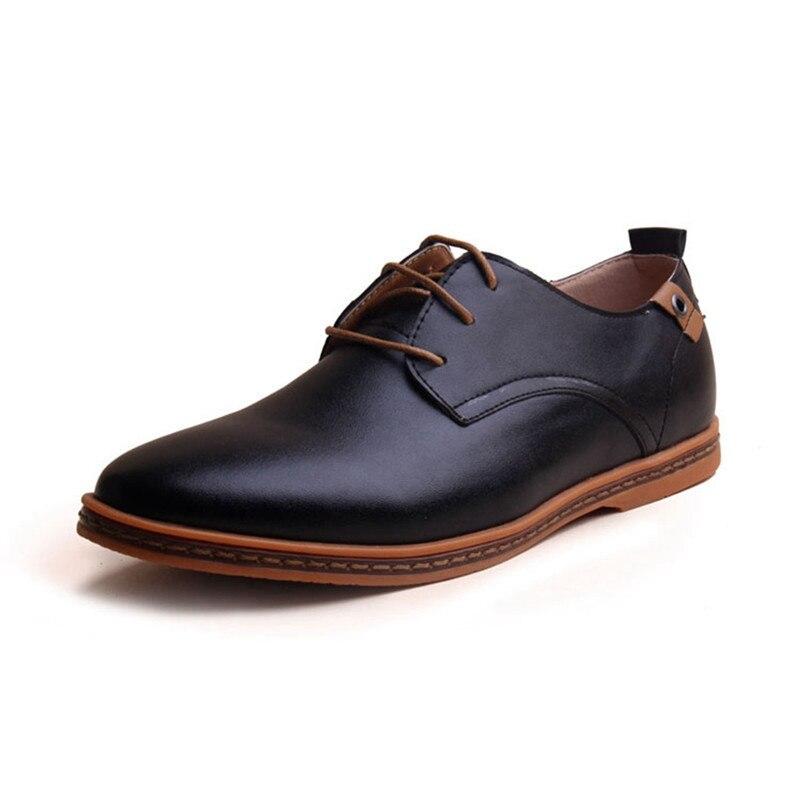 Los hombres Zapatos de Cuero 2015 de La Nueva Manera Con Cordones Ocasionales Ma