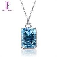 LP Твердые 14 K White Gold 18.36ct натуральный, небесно синий топаз; драгоценный камень кулон 29*14,5 мм мелкозернистый камень изделия для подарка Новый