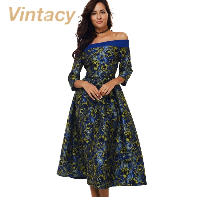 Vintacy dress party dress de la raya vertical de cuello azul de otoño 2017 moda 1950 s vintage dress rockabilly informal fiesta de la oficina vestidos de las mujeres