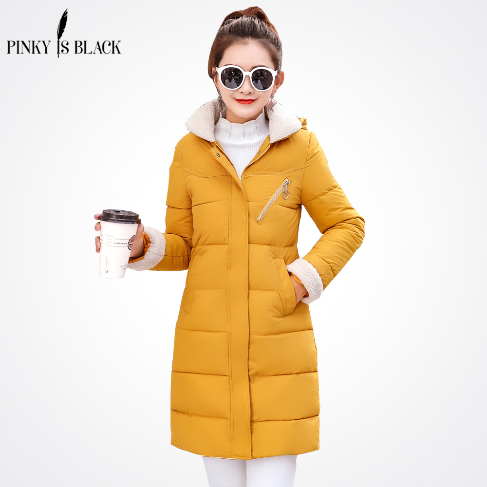 PinkyIsBlack 2018 New Fashion Long Winter Jacket Women Slim Female Winter Coat Women Thicken   Parka   Hooded Cotton Women Clothing