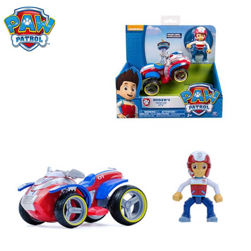 Натуральная лапа детская игрушка Райдер автомобиля Съемная «Щенячий патруль» Аниме фигурки Juguetes для собак дорожно-патрульной службы игрушки для детей подарок