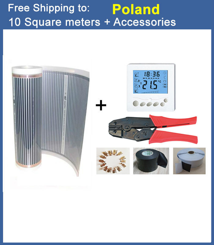 10 Square Meter 220V floor Heating Film DHL Free Shipping To Poland With Thermostat, Clamps, Insulating Tape and Clamp Pliers hot free shipping 10 square meter floor heating films thermostats clamps piler black tape insulating daub 0 5m 20m 220vac