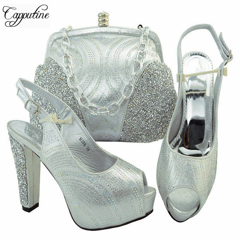 Capputine Summer Hot Sale African Shoes And Bag Set Italian Rhinestone High Heels Shoes And Bag Set For Party 7 Colors YM006