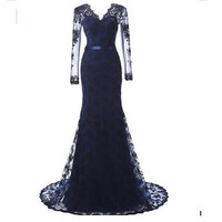 Cheap Evening Gowns 2016 New For Fashion Women Sexy Backless Vintage Long Sleeve Lace Court Train