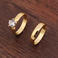 Bangrui Fashion 24k Plain 3mm 2 Ring Set African Crystal Wedding Men&Women Finger Ring Gift