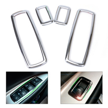 DWCX 4Pcs Chrome Door Window Switch Cover Trim For Jeep Grand Cherokee Dodge Journey Chrysler 300 2012 2013 2014