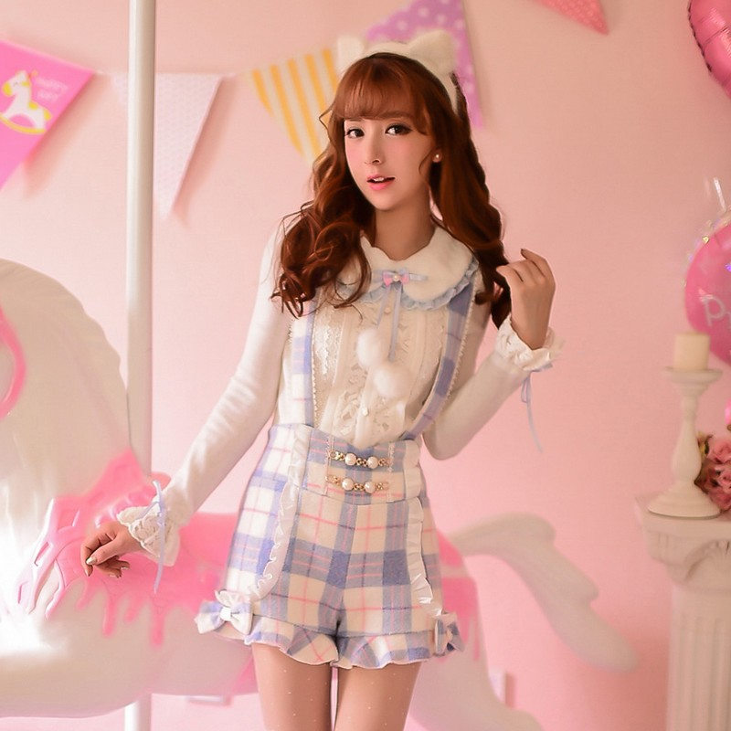Princess sweet lolita blouse Candy rain Autumn winter cute fur collar Long sleeve lace knitting blouse