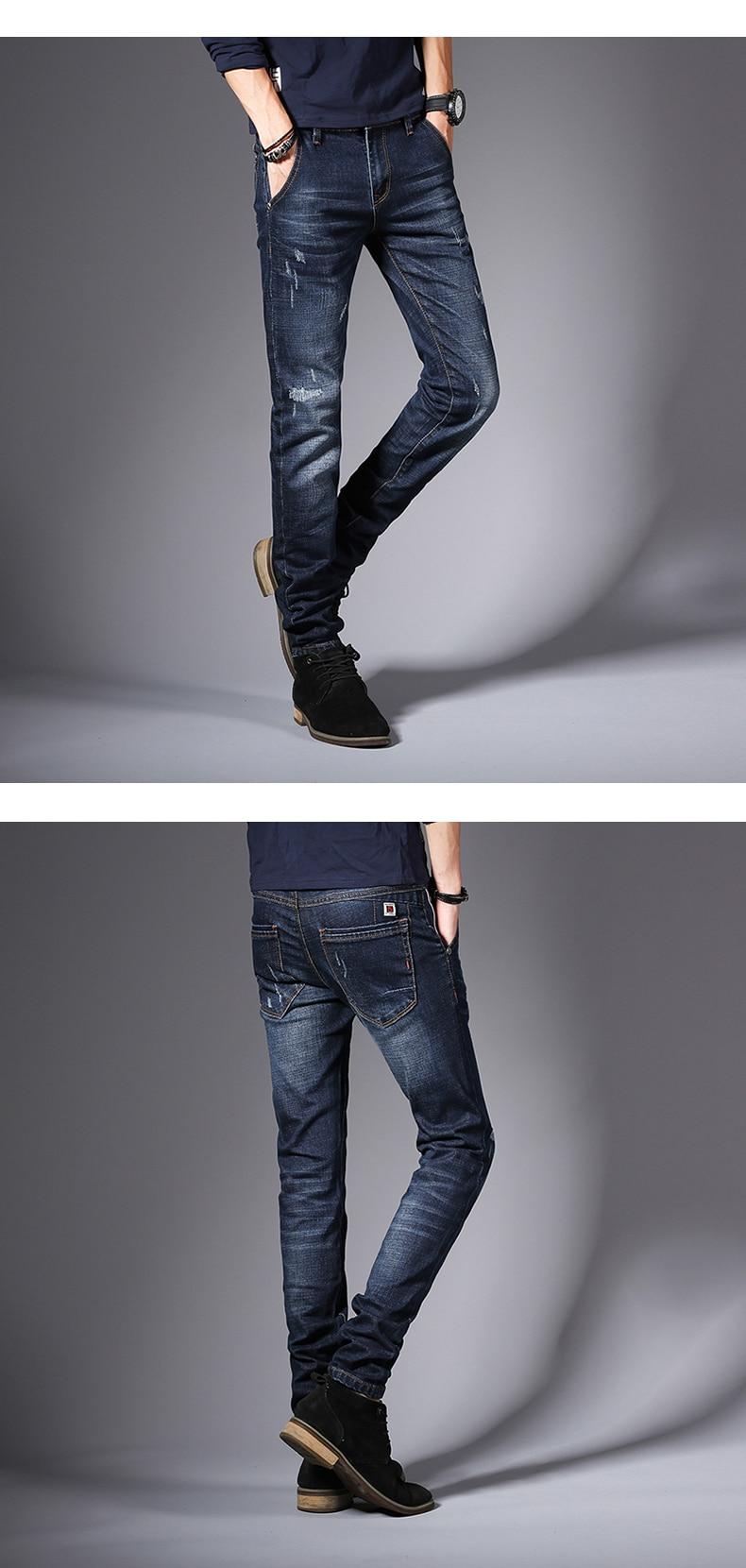 KSTUN Jeans Men Clothes 2018  Autumn Business Casual Pants Slim Fit Elasticity Dark Blue Classic
