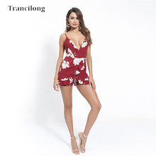 Trancilong Fashion Printed Deep V-neck Wrapped Chest Jumpsuit Ladies Sexy Sleeveless Halter Strap Slim Tight Clubwear Bodysuit fashion beautiful slim wrapped skirt for women deep pink