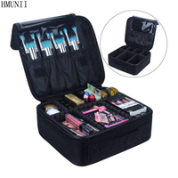 HMUNII Brand Toiletry Bag Nylon Cosmetic Case Women Cosmetic Bag Travel Waterproof Necessary Beauty Brush Organizer