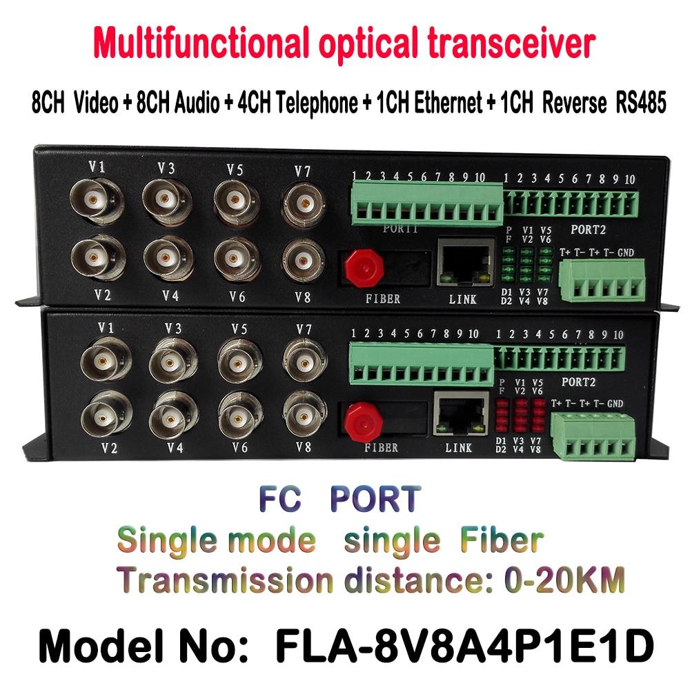 8ch Video Telephone Data Ethernet To Fiber Optical Media Converter 8ch Video + 1ch RJ45 + 4ch Telephone + 1ch RS485 Transceiver
