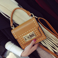 Japan & Korea fashion winter new Rivet lock tote flap ladies bags 2017 pu leather Vintage shoulder crossbody bags for women hot