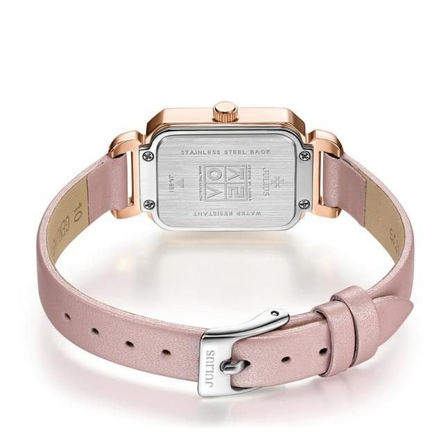 JULIUS Women Luxury Rhinestone Quartz Wrist watches ladies Rectangle Relojes Leather Bracelet Watches Female Dress Gift