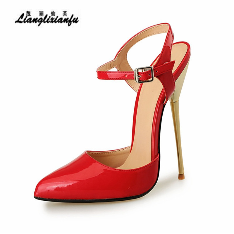 LLXF Stiletto Ladies Ankle strap Shoes Sexy 14cm Thin High Heels Sandals woman Slingbacks Evening Dance