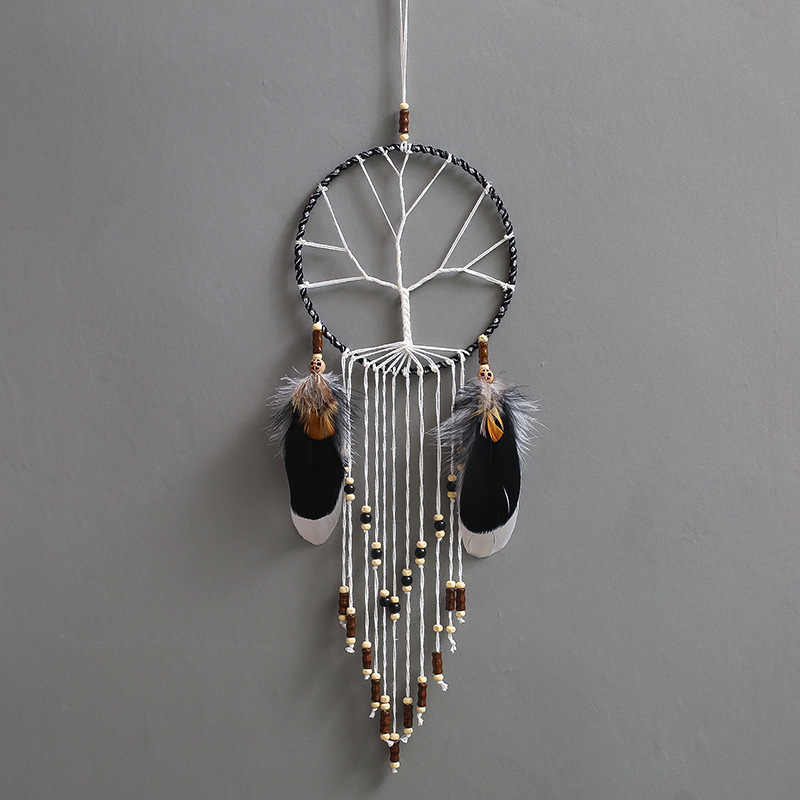 Simple Black And White Dream Catcher Room Decoration Nordic Home Wind Chime Feather Pendant Mystery