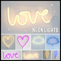 LED Neon Sign Love Lightning Cloud Moon Star Neon Light Wall Word Poster Background Room Decor