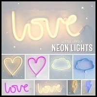 LED Neon Teken Liefde Bliksem Cloud Maan Ster Neon Licht Muur Woord Poster Achtergrond Decor Shop Decoratie Fotografie Prop