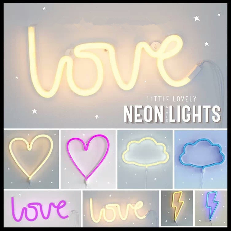 LED Neon Sign Love Lightning Cloud Moon Star Neon Light Wall Word Poster Background Room Decor Shop Decoration Photography Prop
