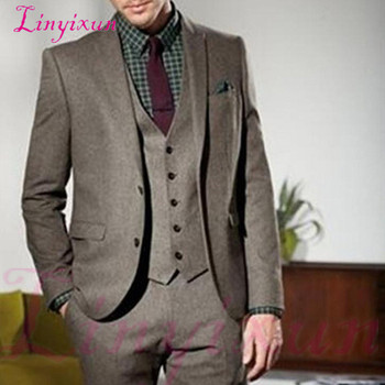 Linyixun Winter Men Suit 2019 Tailor Made Wedding Groom Tuxedos Bridegroom Costume Three Piece Jacket Pants Vest Formal Blazer