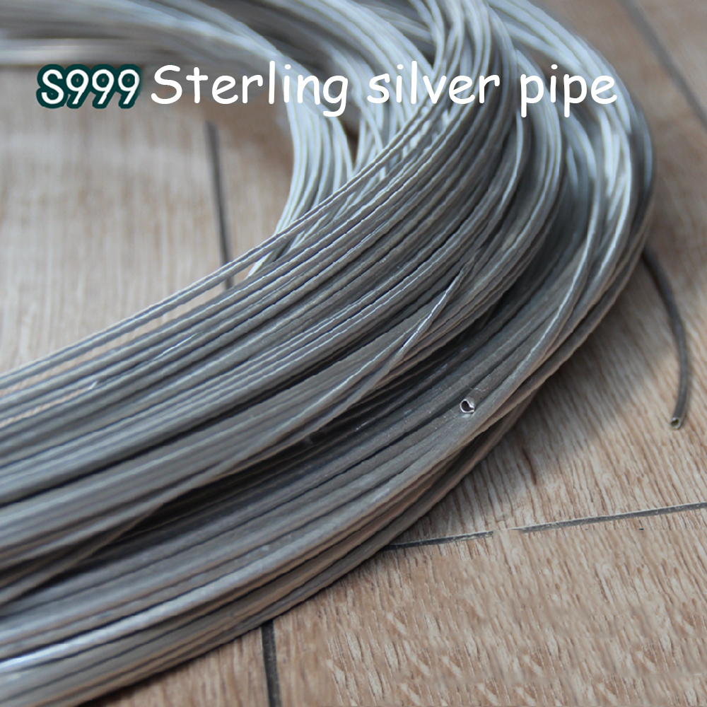 hight resolution of 999 sterling silver hollow tube silver wire tube round beaded manual diy seamless tube sterling silver profile in wires cables from lights lighting on