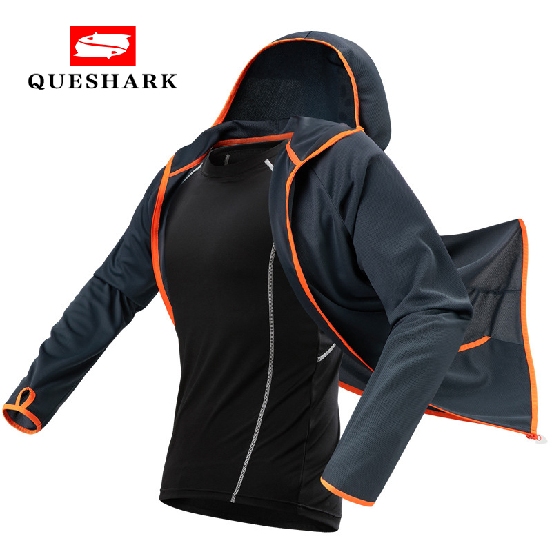 Queshark Tech Hydrophobic Antifouling Fishing Jacket Clothes Water Repellent Fisherman Clothing Hiking Hooded Cycling Jacket