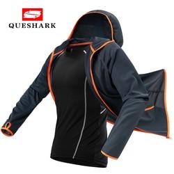Queshark Tech Hydrophobic Antifouling Fishing Jacket Waterproof Fishing Clothes Fisherman Clothing Hiking Hooded Cycling Jacket