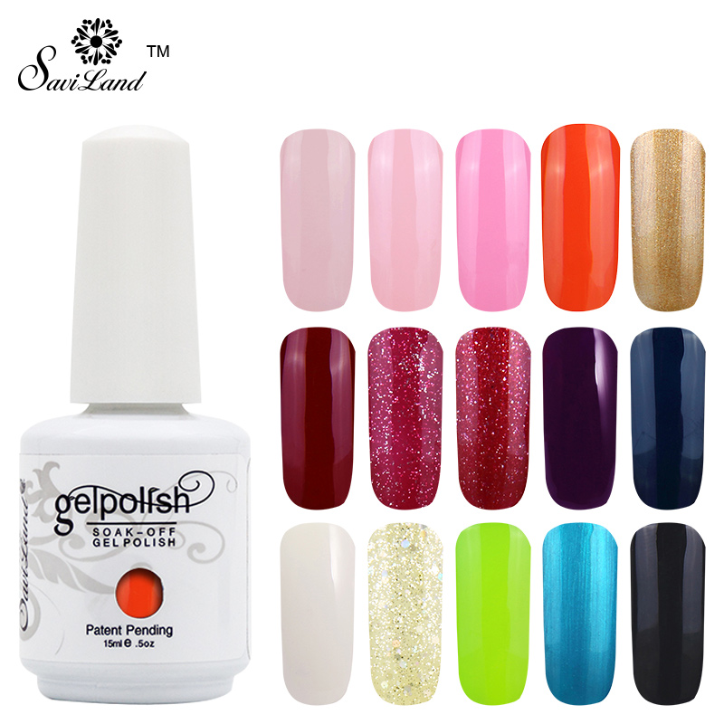 Saviland 1 unids 15 ml Colores UV Gel Polish Soak Off Uñas de Gel Barnices Laca Nail Art Gel Polish Manicure Decoración