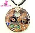 RED SNAKE Brown And Silver Round Murano Glass Pendant